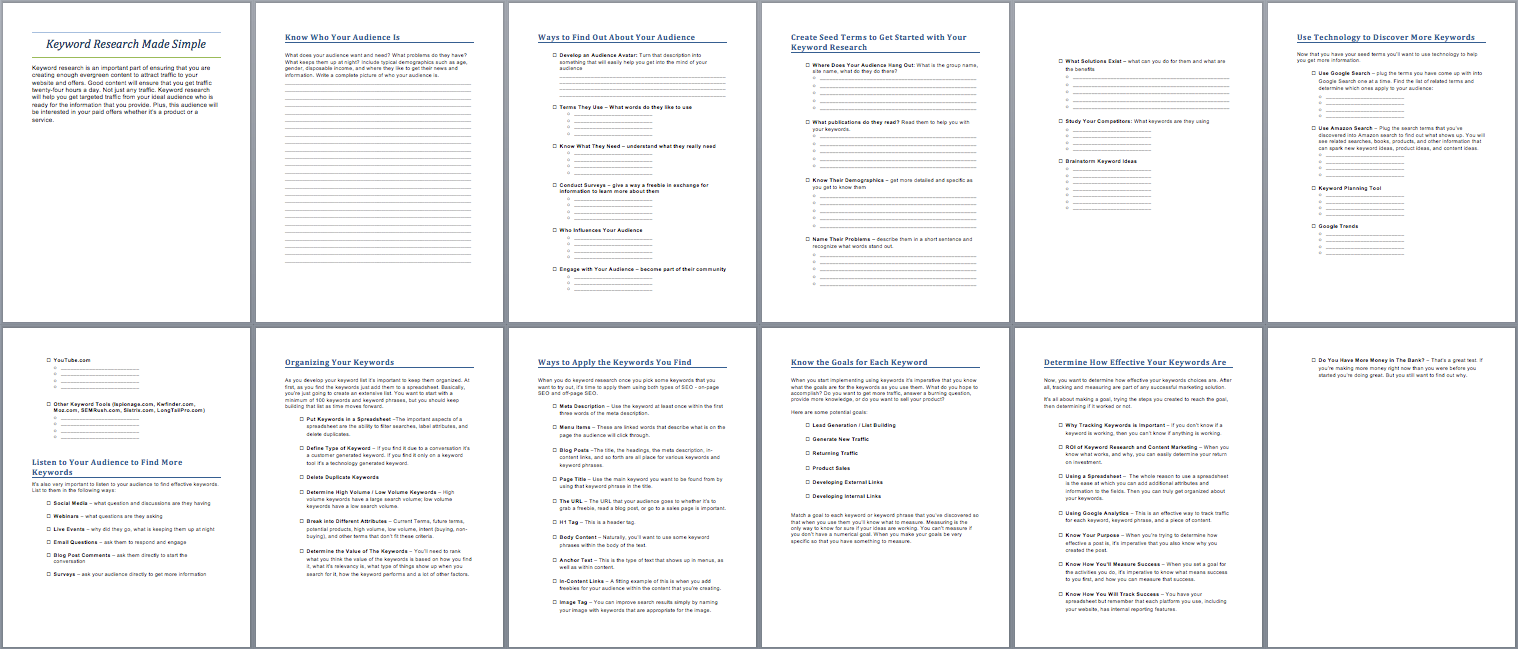 keyword research made simple workbook
