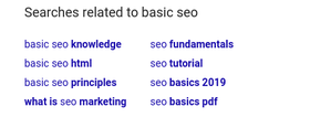A list of keywords suggested by Google related to basic seo including SEO Fundamentals.