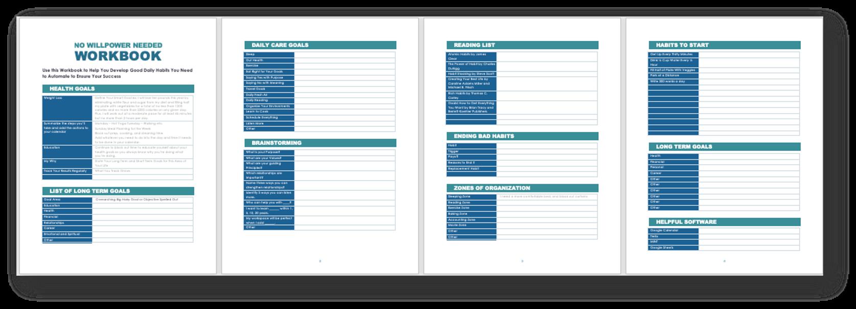 Daily Habits Workbook